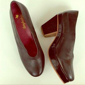 Anthro • Farylrobin black platform block heel 9